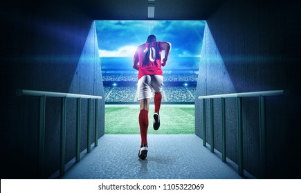 Soccer player entering the 3d imaginary stadium