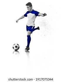 soccer player in football kick the ball. Sport concept.
