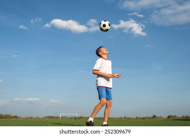 Soccer Player Head Shooting a Ball