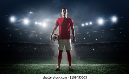 soccer player in imaginary stadium
