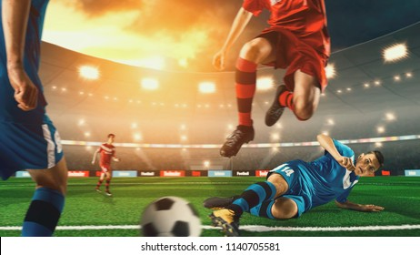 Soccer player kicking ball on soccer stadium. Crowd and stadium made in 3D