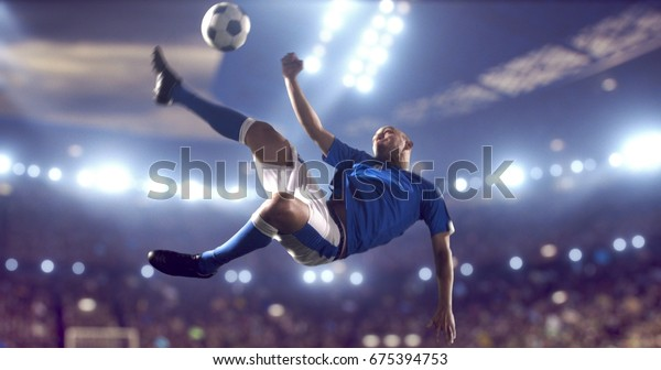Soccer player kicks the ball with his feet during a soccer game on a professional outdoor soccer stadium. He wears unbranded soccer uniform. Stadium and crowd are made in 3D.