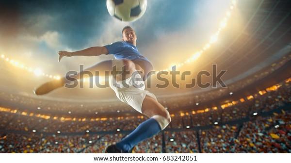 Fußball-Spieler treten den Ball bei einem Fußballspiel in einem professionellen Outdoor-Fußballstadion mit seinen Füßen in moderner Luft. Er trägt eine markenlose Fußballuniform. Stadion und Menge sind in 3D gemacht.