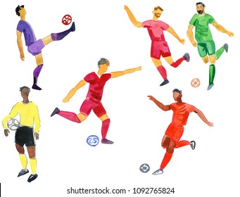 Soccer player kicks the ball with paint splatter design. footballer. isolated on white background. watercolor illustration. Shooting soccer players