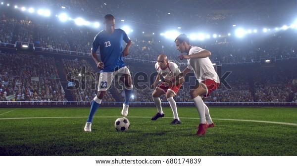 Fußball-Spieler spielen während des Spiels im professionellen Outdoor-Fußballstadion. Alle Spieler tragen eine unmarkierte Fußballuniform. Stadion und Menge sind in 3D gemacht.