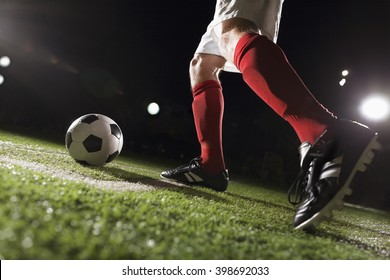 Soccer player making a corner kick