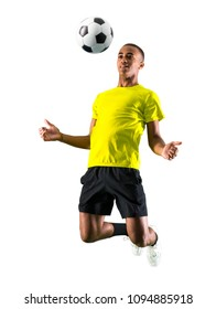 Soccer player man with dark skinned playing on isolated white background