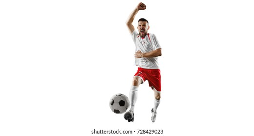 Soccer player on a white background. Isolated soccer player in unbranded clothes.