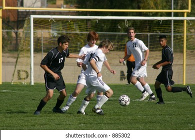 Soccer player prepares for a shot on goal.  Editorial Use Only.