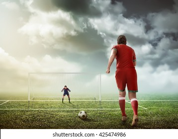 Soccer player ready to execute penalty kick