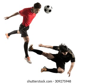 Soccer player scramble competition the ball to score in the match - white background