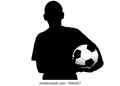 Soccer player silhouette with ball isolated on white