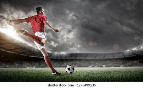 Soccer player in stadium