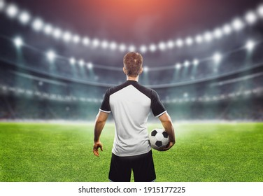 soccer player at soccer stadium. ready for game in front of the stadium