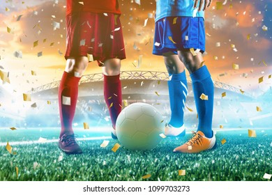 Soccer player stand action with ball at stadium.