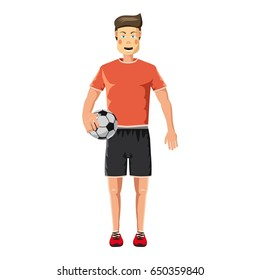 Soccer player standing with soccer ball icon. Cartoon illustration of soccer player standing with soccer ball  icon for web
