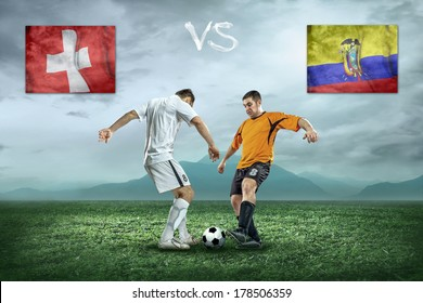 Soccer player stay at field. Game between Switzerland and Eucvador national teams.