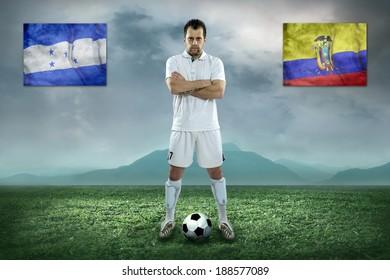 Soccer player stay at field. Game between Honduras and Ecuador national teams.