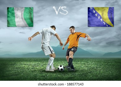 Soccer player stay at field. Game between Nigeria and Bosnia and Herzegovina national teams.