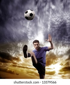 a soccer player and a sunset