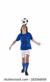 Soccer player woman with a soccer ball