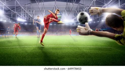Soccer players at 3d sport arena . Brutal action