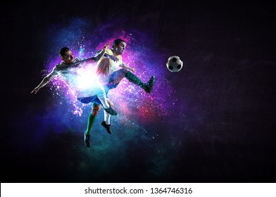 Soccer players in action. Mixed media