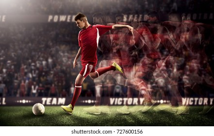 Soccer players in action on 3D stadium background