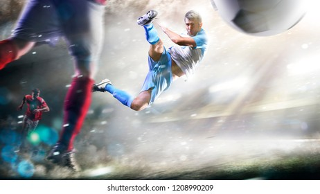 Soccer players in action on the grand stadium background panorama