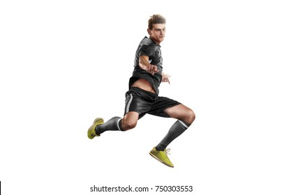 Soccer players in action on isolation white