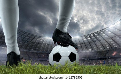 Soccer players in action on professional stadium. - Shutterstock ID 1462798505