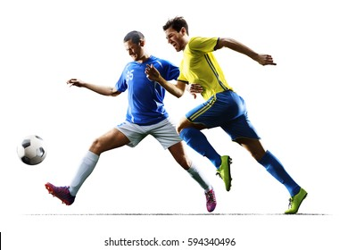 Soccer players in action on the white isolated background