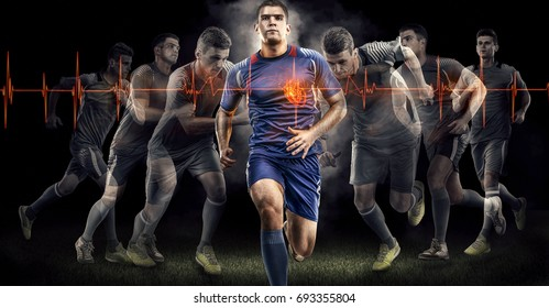 Soccer players isolated on black bakground. Cardio system