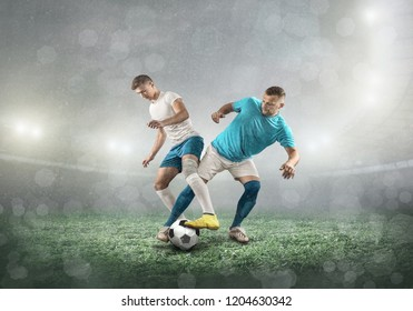 Soccer players on a football field in dynamic action at summer day under sky with clouds. Sporty man is shooting the ball outdoor.