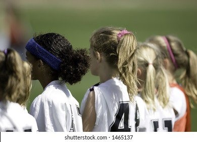 Soccer Players on the Sideline