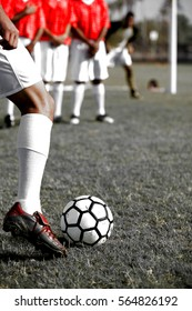 Soccer Players Preparing for a Penalty Kick