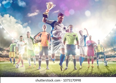 Soccer players selebrates the victory on grand arena