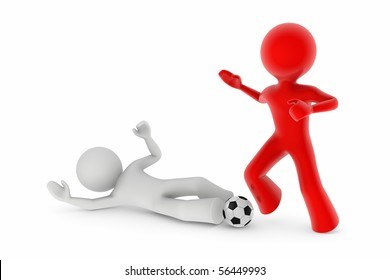 soccer players; white player trying to take-over the ball from the red one by sliding on the ground
