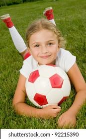 Soccer - Portrait of little girl soccer player