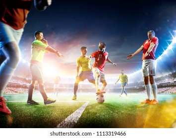 Soccer referee in action on grand arena