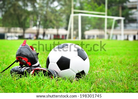 33991dbbe Soccer Shoe Ball On Field Stock Photo (Edit Now) 198301745 ...