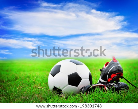 112acb9f4 Soccer Shoe Ball On Field Stock Photo (Edit Now) 198301748 ...