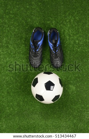 748fd2f9e Soccer Shoes Ball On Artificial Grass Stock Photo (Edit Now ...