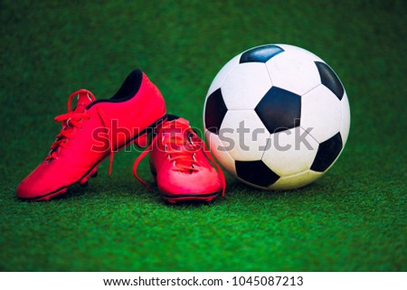 cf3cdc7bf Soccer Shoes Soccer Ball On Grass Stock Photo (Edit Now) 1045087213 ...