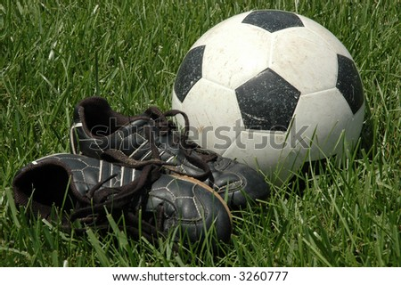 a790438a7 Soccer Shoes Ball Tall Grass Stock Photo (Edit Now) 3260777 ...