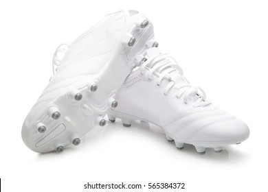 Soccer shoes on white background.