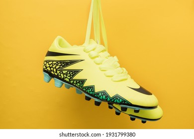soccer shoes yellow on a yellow background, boots Nike 2016 collection Kostroma, Russia, 1.03.21