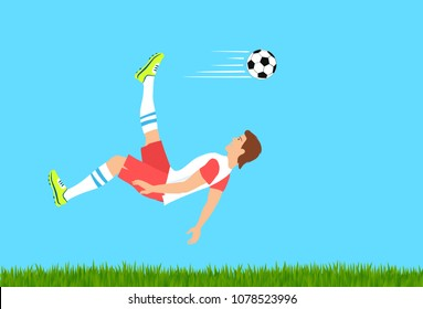 Soccer shot with the cycling motion. Stunning overhead kick or bicycle kick as advanced football skill. Raster version.