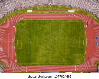 Soccer stadium, field and seats, aerial view