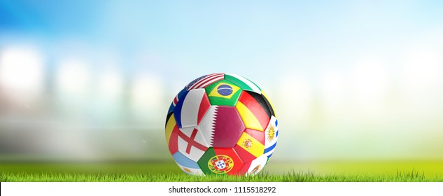soccer stadium flood lights with soccer ball Qatar and favorites 3d rendering